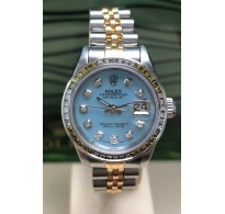 Ladies Rolex Datejust Steel & Gold MOP Diamond Dot Dial 69173 Diamond Bezel Circa 1986