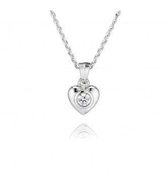 Single Stone Rubover Heart Pendant (0.25ct)