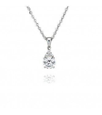 Single Stone Four Claw Pendant With Trilogy (0.90ct)